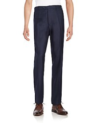 Armani Collezioni Virgin Wool Flannel Trousers Navy