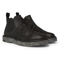 Marsell Washed Suede Chelsea Boots Black