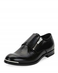Alexander Mcqueen Zipper Monk Strap Leather Loafer Black