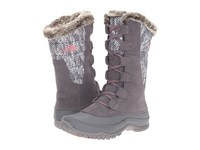 The North Face Nuptse Purna Smoked Pearl Grey Calypso Coral Women's Cold Weather Boots Gray