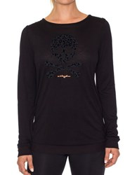 Betsey Johnson Leopard Solid Long Sleeve Pullover Black