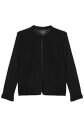 Majestic Filatures Laser Cut Suede Paneled Linen Jacket Black