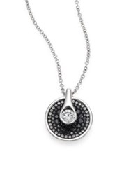 Pleve Opus Diamond And 18K White Gold Round Pendant Necklace White Gold Black