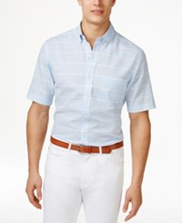 Club Room Men's Pembrook Plaid Short Sleeve Shirt Only At Macy's Pale Ink Blue