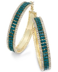 Thalia Sodi Gold Tone Metal Mesh And Crystal Hoop Earrings Only At Macy's Teal