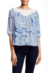 Collective Concepts Crochet Yoke 3 4 Length Sleeve Blouse Blue