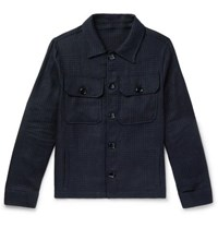Massimo Piombo Mp Prince Of Wales Checked Wool Blend Jacket Navy