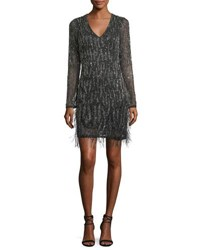 Parker Black Gia Long Sleeve Beaded Cocktail Dress W Feather Trim Black