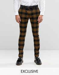 Heart And Dagger Super Skinny Smart Trousers In Oversized Check Mustard Yellow