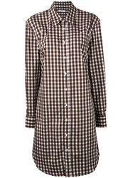 Dondup Gingham Tunic Shirt Women Cotton 44 Brown