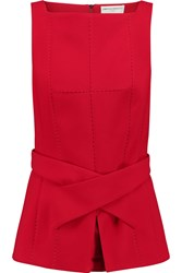 Amanda Wakeley Belted Stretch Crepe Top Red