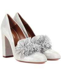 Aquazzura Wild Loafer 105 Suede Pumps Silver