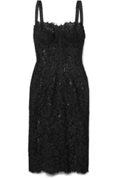 Dolce And Gabbana Satin Trimmed Corded Lace Tulle Midi Dress Black