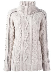 Giada Benincasa Turtleneck Cable Knit Jumper Nude Neutrals