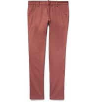 The Elder Statesman Slim Fit Cotton Twill Trousers Brick