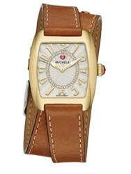 Michele Urban Mini Diamond And Leather Double Wrap Strap Watch Brown Gold