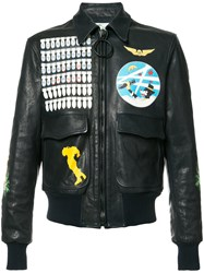 Off White Multi Patched Biker Jacket Black