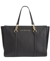 Tommy Hilfiger Emilia Pebble Leather Small Shopper Black