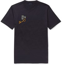 Lanvin Slim Fit Appliqued Cotton Jersey T Shirt Blue