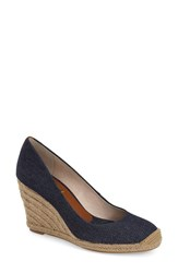 Women's Louise Et Cie 'Magdalen' Wedge Pump Dark Blue Fabric Leather