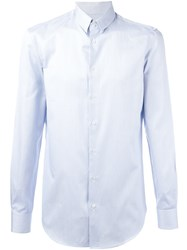 Giorgio Armani Striped Button Down Shirt Blue