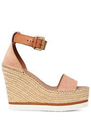See By Chloe 120Mm Glynn Suede Wedges Blush