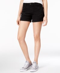 Vanilla Star Juniors' Ripped Denim Shorts Black
