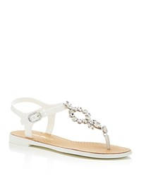 Ivanka Trump Adoren Embellished T Strap Thong Sandals White