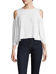 Bcbgmaxazria Hi Lo Cold Shoulder Top White
