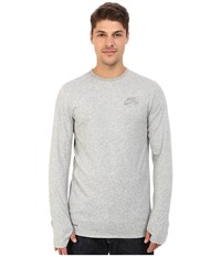 Nike Sb Skyline Dri Fit Cool Long Sleeve Crew Dark Grey Heather Reflective Silver Men's Long Sleeve Pullover Gray