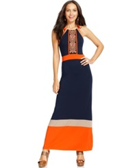 Spense Petite Colorblocked Embroidered Maxi Dress Navy