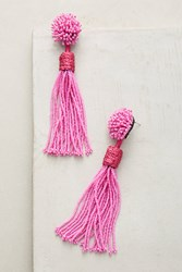 Anthropologie Lana Beaded Tassel Drop Earrings Medium Pink