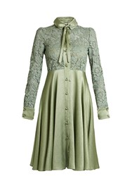 Valentino Lace And Hammered Satin Dress Green
