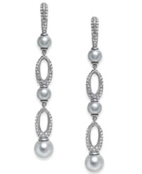 Danori Hematite Tone Imitation Pearl And Pave Drop Earrings Created For Macy's Rhodium