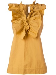Marni Ruffle Collar Top Yellow Orange