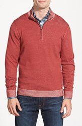 Men's Big And Tall Nordstrom Melange Quarter Zip Sweater Red Rosewood Combo