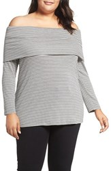 Three Dots Plus Size Women's Stripe Off The Shoulder Tee