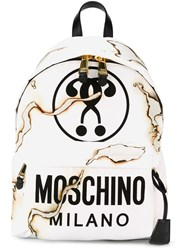 Moschino Question Mark Backpack White