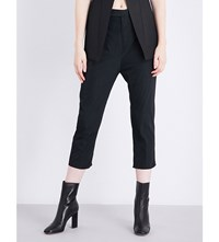 Rick Owens Tapered Low Rise Taffeta Trousers Black