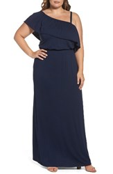 Bobeau Plus Size Women's Ruffle One Shoulder Maxi Dress Navy