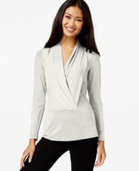 Eci Long Sleeve Draped Top Winter White