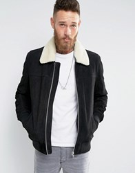 Asos Leather Flight Jacket With Borg In Black Black
