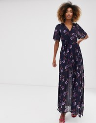 Liquorish Wrap Maxi Dress With Pleated Skirt In Floral Multi