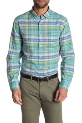 Tommy Bahama Nod To Madras Linen Blend Shirt Mint Mojit