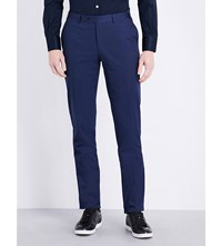 Canali Regular Fit Straight Cotton Trousers Bright Blue