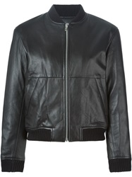 T By Alexander Wang Leather Bomber Jacket Black
