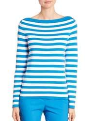 Michael Kors Striped Boatneck Cotton Sweater Wave