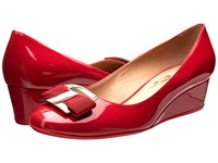 Salvatore Ferragamo Ninna 40 Rosso Glass Flower Women's Wedge Shoes Red