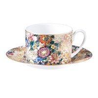 Roberto Cavalli Golden Flowers Teacup And Saucer