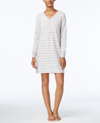 Charter Club Printed Textured Fleece Sleepshirt Only At Macy's Grey Stripe